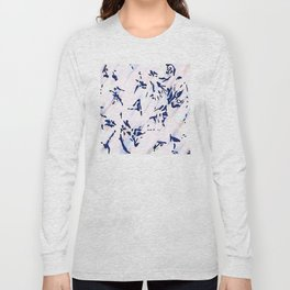 Blue Splatter Painting Pattern Long Sleeve T-shirt