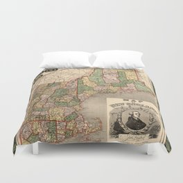 Map of New England 1847 Duvet Cover