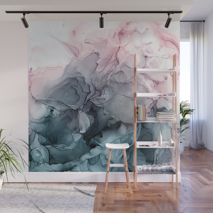Blush and payne 39 s grey flowing abstract painting wall - How to paint murals on bedroom walls ...