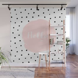Hello! Black on white Polkadots and pink Typography Wall Mural