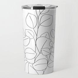 Minimalistic Eucalyptus  Line Art Travel Mug