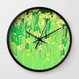 Daffodils in green Wall Clock
