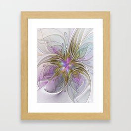 Flourish, Abstract Fractal Art Flower Framed Art Print