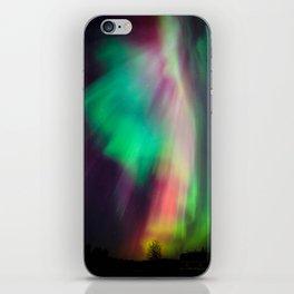 Big beautiful multicolored northern lights in Finland iPhone Skin