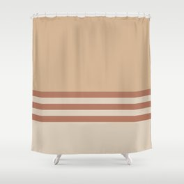 Cavern Clay SW 7701 and Creamy Off White SW7012 Horizontal Stripes on Ligonier Tan SW 7717 Shower Curtain
