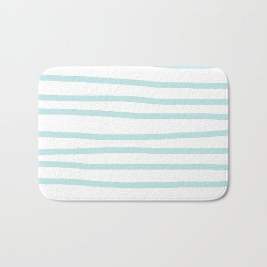 Simply Drawn Stripes Succulent Blue on White Bath Mat