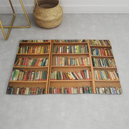 Bookshelf Books Library Bookworm Reading Rug