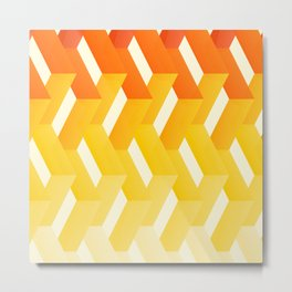 Orange Yellow Happy Print Decor Metal Print