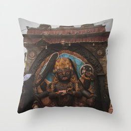 Temples and Architecture of Kathmandu City, Nepal 001 Throw Pillow