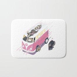 Hippie pink bus Bath Mat