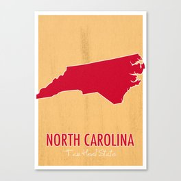North Carolina State Map - Tar Heel State Canvas Print
