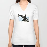 killer whale V-neck T-shirts featuring Orca - Killer Whale? by LyndaParker