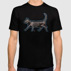 Skeleton Cat SMALL Black Mens Fitted Tee