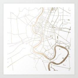Bangkok Thailand Minimal Street Map - Gold Metallic and White IV Art Print