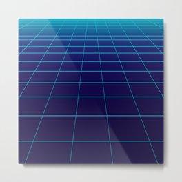 Minimalist Blue Gradient Grid Lines Metal Print