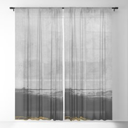 Black and Gold grunge stripes on modern grey concrete abstract backround I - Stripe - Striped Sheer Curtain