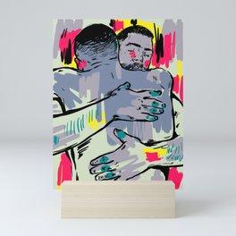 Hold me! Two Men Hugging Mini Art Print