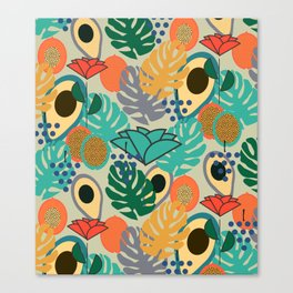 Monstera, fruits and flowers Canvas Print