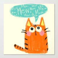 mew Canvas Prints featuring mew. by TangerineCafé
