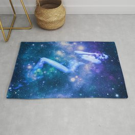 Blue Galaxy Woman : Nude Art Rug