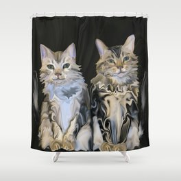 Marble Meows Shower Curtain