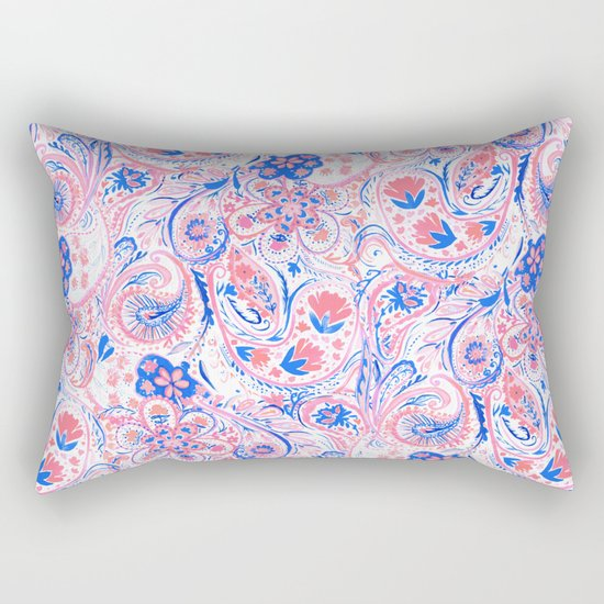 Paisley Watercolor Blue Rectangular Pillow