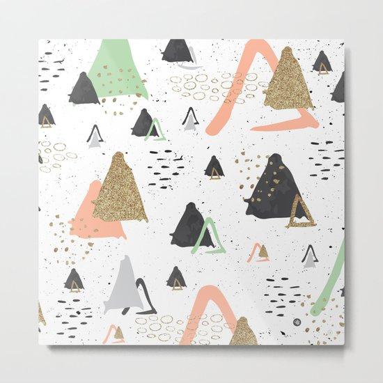 Triangles & textures watercolor Metal Print