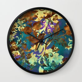 Jungle Floral Neck Gator Blue Gold and Brown Jungle Flowers Wall Clock