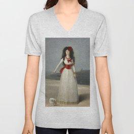 """Francisco Goya """"Duchess of Alba - The White Duchess"""" Unisex V-Neck"""