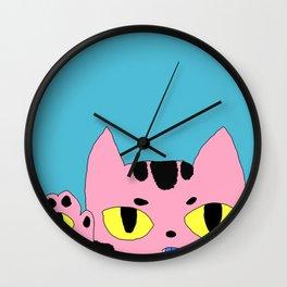 Alien Cat High Five Hello Pop Art Wall Clock