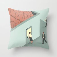 psychology Throw Pillows featuring Brain Room by Davide Bonazzi