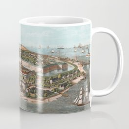 Vintage Pictorial Map of Fort Monroe Virginia Coffee Mug