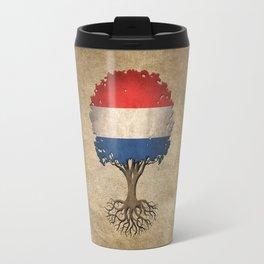 Vintage Tree of Life with Flag of The Netherlands Travel Mug