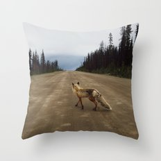 Road Fox Throw Pillow