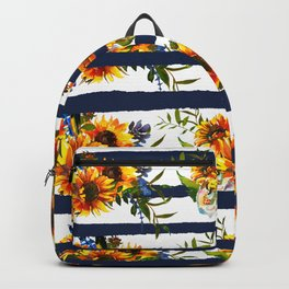 Watercolor navy blue orange yellow sunflower stripes Backpack