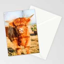 Baby Highland cow watercolor painting  Stationery Cards