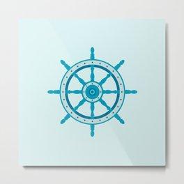 AFE Ship Wheel Teal, Nautical Art Print Metal Print