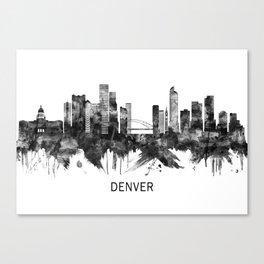 Denver Colorado Skyline BW Canvas Print