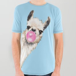 Bubble Gum Sneaky Llama in Blue All Over Graphic Tee
