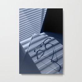 Eye glasses, book and venetian blind shadows in blue Metal Print