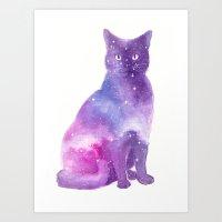 Space Cat Watercolor Art Print