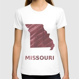 Missouri map outline Burgundy stained wash drawing picture T-shirt