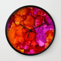 fierce Wall Clocks featuring Fierce by Claire Day