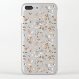 Watercolor brown fall autumn leaves floral Clear iPhone Case