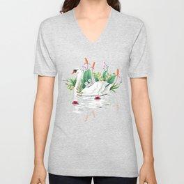 Bond, Jungle Animals, Swan Family Nature Pond Illustration, Bohemian Ducks Love Colorful Botanical Unisex V-Neck