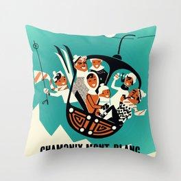 Vintage Ski Poster France Throw Pillow