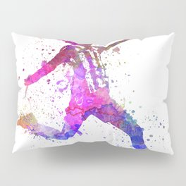 Girl playing soccer football player silhouette Pillow Sham