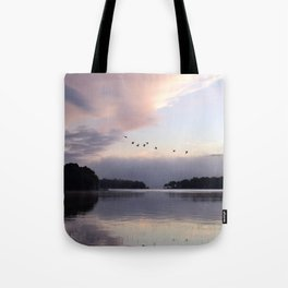 Uplifting III: Geese Rise at Dawn on Lake George Tote Bag