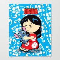 lilo and stitch Canvas Prints featuring Ohana Lilo and Stitch by Jasmine Victoria