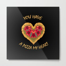 Pizza Heart Eat Love Fast Food Metal Print